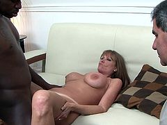 Obedient hubby sits and watches while horny wife receives a black dong to demolish her cramped vag