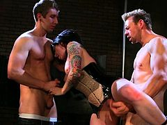 Burning Angel's trio along Joanna Angel