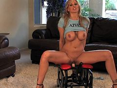 Top porn model Julia Ann is looking fine with her cramped vag stretched out while riding on a big toy