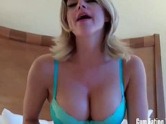 Caroline Pierce looks like a sex goddess and what she says should be taken as a command. She wants you to eat your spunk after you cum. It's as simple as that.