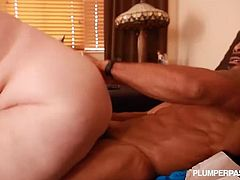 Giant tits granny sits on massive black cock. This interracial encounter is not your ordinary one. With this mature slut and her young buddy, they are sure going to places.