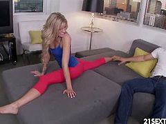 Slim and sexy Jessa Rhodes shows off her flexible skills as she spreads her long legs. Her partner enjoys nice view of her pussy stretching wide so he decided to slam her slit with huge cock.