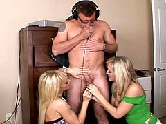 Lucky stud pleased by three hotties
