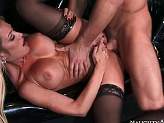 Chesty blondie Capri Cavanni takes Johnny Castle's cock from behind