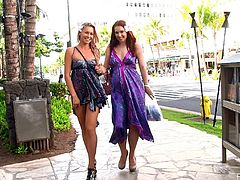 Man, just look at these two charming and gorgeous angels! Melody and Lena Hawaii are making out in a public place. Ain't it hot?