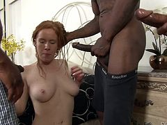 A bunch of black dudes broke into her backyard and Kiera, is scared and excited by the situation. The blacks look at her sexy white body and start to rub their cocks in front of her, making the slut horny. She rubs her pussy and then, sucks their black cocks. Well, it seems that our white girl likes black meat!