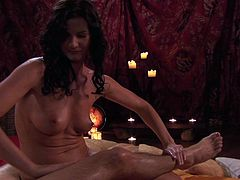 Voluptuous brunette babe massages her man and gives him good hand job. She oils up his body and rubs allover him. Enjoy watching Lust Cinema massage sex tube video.