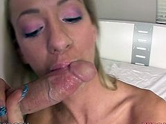 This chick wants a fresh load of protein in her filthy mouth. Horny dude grabs her by her head and pulls her towards his rock hard cock so she can blow him. Cum-addicted chick sucks his meat stick with unrestrained passion like a dirty whore.