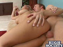 Have fun jerking off with this hardcore scene where the busty blonde Velicity Von has her tight asshole drilled by this guy's thick cock as she rides him.