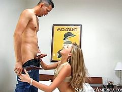 Sexy blonde babe with big boobs Mia is ready to serve two well endowed dudes. She suck one cock and gets her ass hole rimmed at the same time.