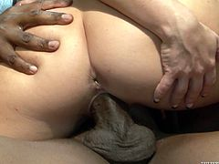 Have a look at this rough interracial scene where the horny blonde Casey Cumz is fucked by a big black cock.
