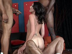 Check out this interracial gangbang scene where the beautiful brunette Katie Angel is fucked by big black cocks in this hot clip.