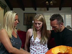 Have a look at this amazing hardcore scene where these sexy blondes make this guy's day with a threesome I'm sure he'll never forget.