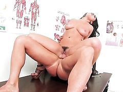 Charley Chase with massive jugs and shaved snatch has oral fun with hard dicked fuck buddy
