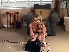 Madison Scott exposes that petite body and gets very excited knowing she gets to ride the Sybian. She loved riding it deep with her cunt!