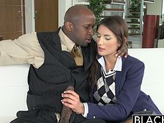 Gigantic black cock drills wet brunette. She had never been with a black man before so naturally she was a little afraid at first of Princes monster black cock but she warmed up real fast.
