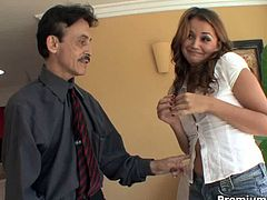 Allie Haze was getting bored and the only cock around was her step dad. This didn't stop her from riding him.