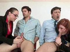 Chanel Preston and her hot coworker are ready to have some fun at the office. Watch as they start to suck cock like champs in this amazing foursome office orgy.