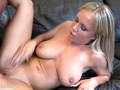 Jessica Moore is a wild cock-rider. She has huge natural boobs that bounce up and down when she rides cock wildly. She takes a big cock all in and spunk on her face.