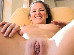 She is way to naughty by deep fingering her wet vag and stretching it in pure solo cam show