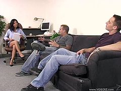 Watch Tia Ling ends up with a mouthful of semen as well as being splattered by it after being fucked by two guys in a threesome.