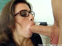 Four eyed teacher Gabriela Rossi gives hot blowjob to Scott Nails