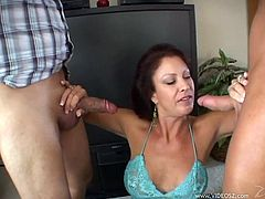 Take a look at this hardcore scene where the busty Latina Vanessa Videl is fucked by two fellas that leave her out of breath after this clip.