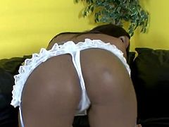 Be ready to have an instant boner as you check out Candice Nicole's big round ass int his hardcore scene where this ebony babe sucks a guy's cock before riding him.