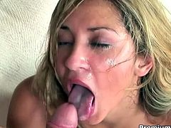 Cute blondie Roxy Jezel in pigtail cut the chit chatting short that she open up her mouth and eagerly take this stud's already hard cock between her lips. Making it sloppy wet and extra hard that it goes deep down her throat before he unload his man-naise inside her mouth.