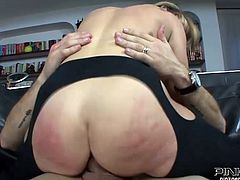Voluptuous blond wench with big fat ass got her incredibly thirsting asshole hammered in cowgirl and doggy styles. Her horny guy knows what his bitchy chick likes most of all.Take a look at that whorish blondie in Pinko HD sex video!