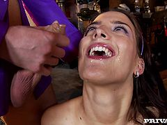 Pretty brunette Lyen Parker shows her cock-sucking skills to two men. Then the dudes drill Lyen's vagina and bumhole doggy style and she moans sweetly with pleasure.