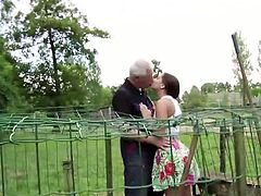 Grandpa needs help from young girl Jenny Glam but she is too lazy for that work. Being horny as she is, she just offered the lucky old man to screw her in the farm.