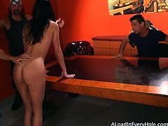 A Load In Every Hole brings you a hell of a free porn video where you can see how the naughty brunette Rhiannon Bray gets gangbanged by three dudes into heaven.