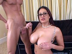 Press play and watch this horny mommy Ava Lauren playing with her big round tits and wet pussy before sucking on this guy's big cock and being fucked silly.