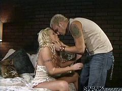 A dirty ass fuckin' blonde bitch with nice round tits sucks on a hard cock and fuckin' gets it shoved balls deep into her wet gash!