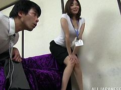 This girl is very shy, but she wants to get rid of this feature. So, she shows off her boobs to a colleague. Then she takes his pants off and gives a hot blowjob.