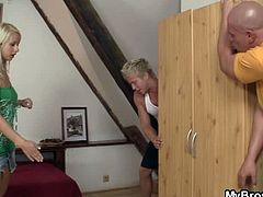 Horny seductress cheating to her bf's brother