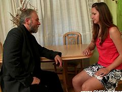 A slutty Russian teen takes off her clothes. An old dude licks her small tits and hot pussy. The girl also sucks an old dick and gets fucked in her fresh pussy.