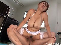She comes to make an injection to him, but in fact he is injecting his huge dick deep in her tight pussy! Hairy pussy, by the way!