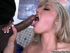 This crazy white girl needs it badly so these two black guys give her exactly what she wants as they impale her with their fat cocks.