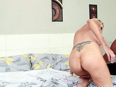 This gorgeous mature skank knows her stepson's cock should be off limits, but she just can't help herself. She climbs on top of this stud and rides his shaft passionately like a true cowgirl.