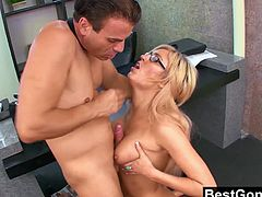 Victoria White takes a break from work because she needs to unwind. Her boss catches her naked and instead of firing her, he pounds her and creams her boobs to help her relax.