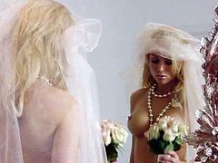 Stunning Kayden Kross is completely naked except the white veil she has on her head. She masturbates before the wedding, looking at her reflection in the mirror.