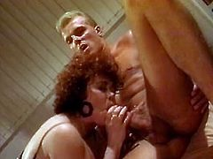 Watch this amazing threesome of two hot babes sucking and jerking off jerk's cock in the bedroom in The Classic Porn sex clips.