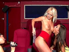 Turned on lusty and wild lezzies Carla Cox, Carmen and Peaches film each other during mind blowing pussy licking threesome and play with huge double dildo to wet orgasms.