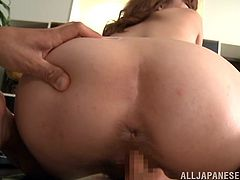Get a hard dick watching this redhead babe, with small tits and a hairy pussy, while she gets pounded hard after serving a blowjob.
