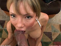 Mesmerizing blondie Maya Hills blows a cock on her knees
