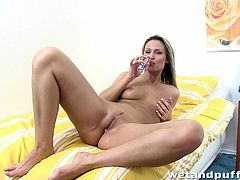 Press play to watch this blonde babe, with natural tits wearing blue lingerie, while she plays with a naughty toy until she has an orgasm.