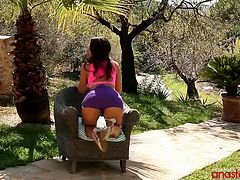 Watch this Busty pornstar Anastasia, posing and teasing in her red bikini in the garden. She has a nice pair of tits, sexy figure and a big ass. This pornstar likes to pose and tease, while she is in her bikini. Check her out while se strips her clothes and show her nice and sexy body. Enjoy!