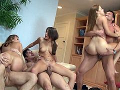 Crissy Moon, Lizz Tayler and Gigi Rivera are having a great time with three horny men. The cuties show their cock-sucking skills to the studs and let them fuck their pussies and bumholes.